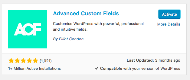 Advanced custom fields, active installs and current reviews