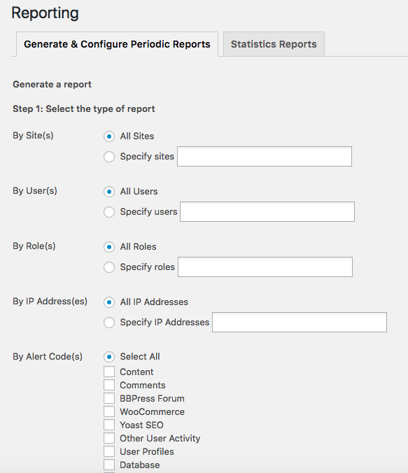 Audit log viewer reports