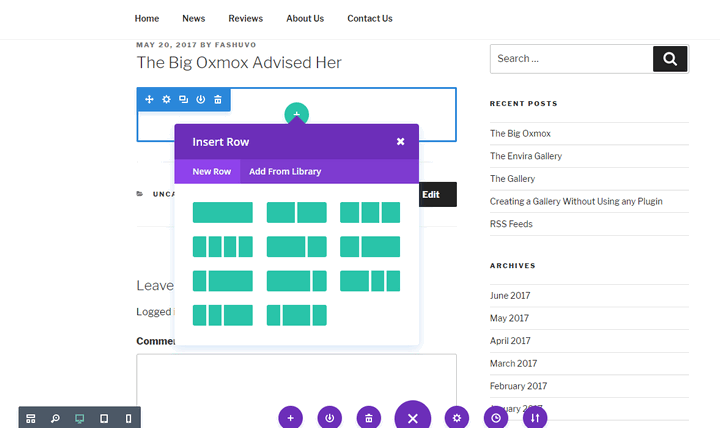 Divi frontend interface