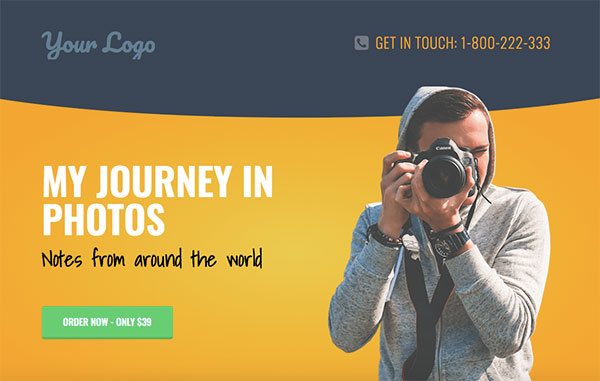 Elementor - photography landing page