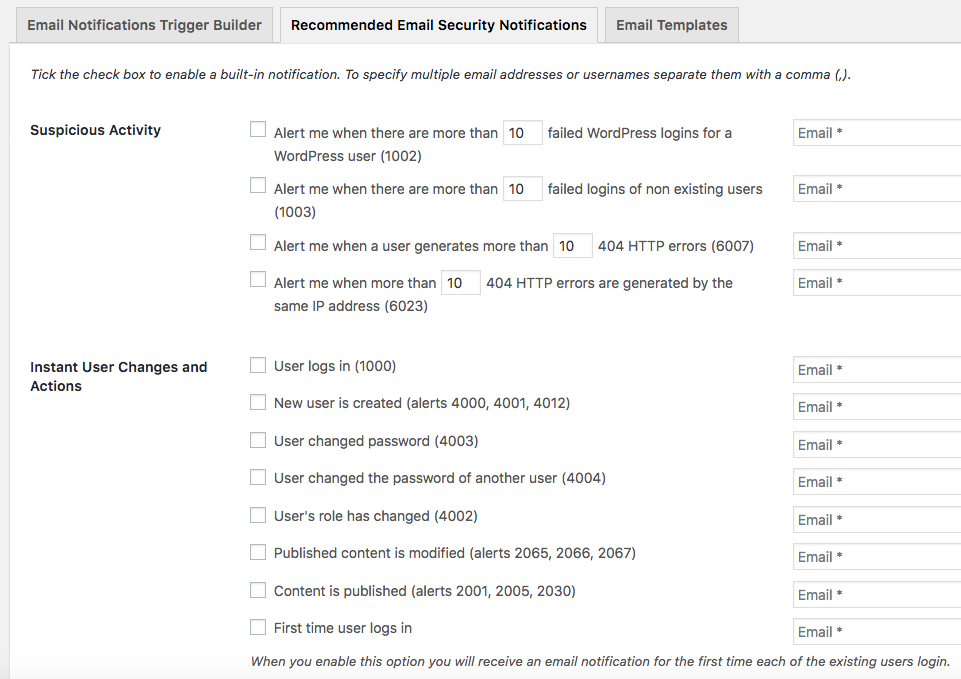 Recommended email security notifications