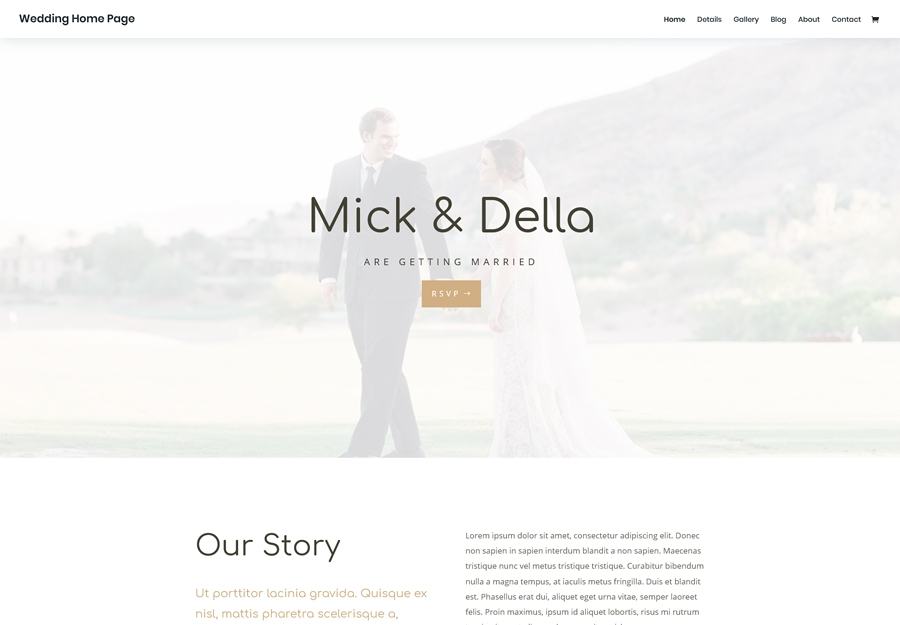 Divi - Wedding Home Page layout