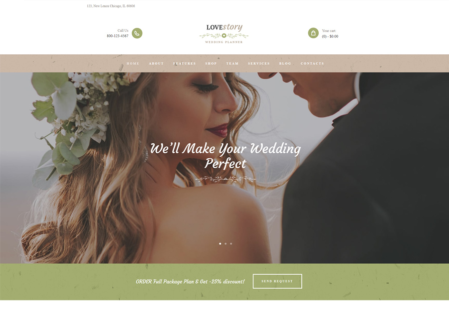 Love Story Wedding and Event Planner Site Template