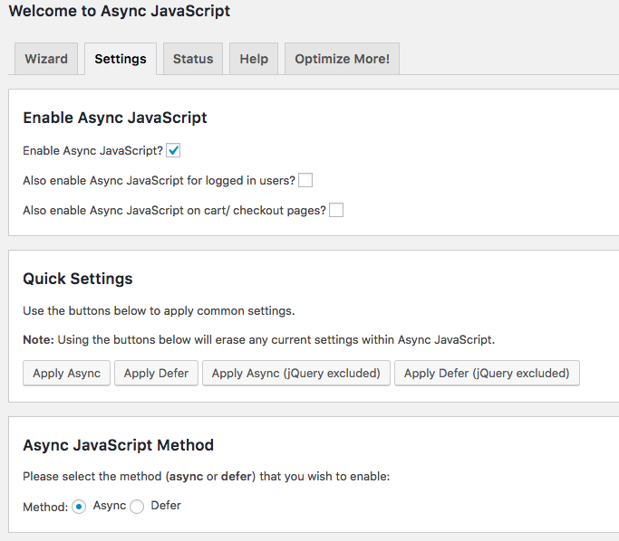 async javascript plugin settings