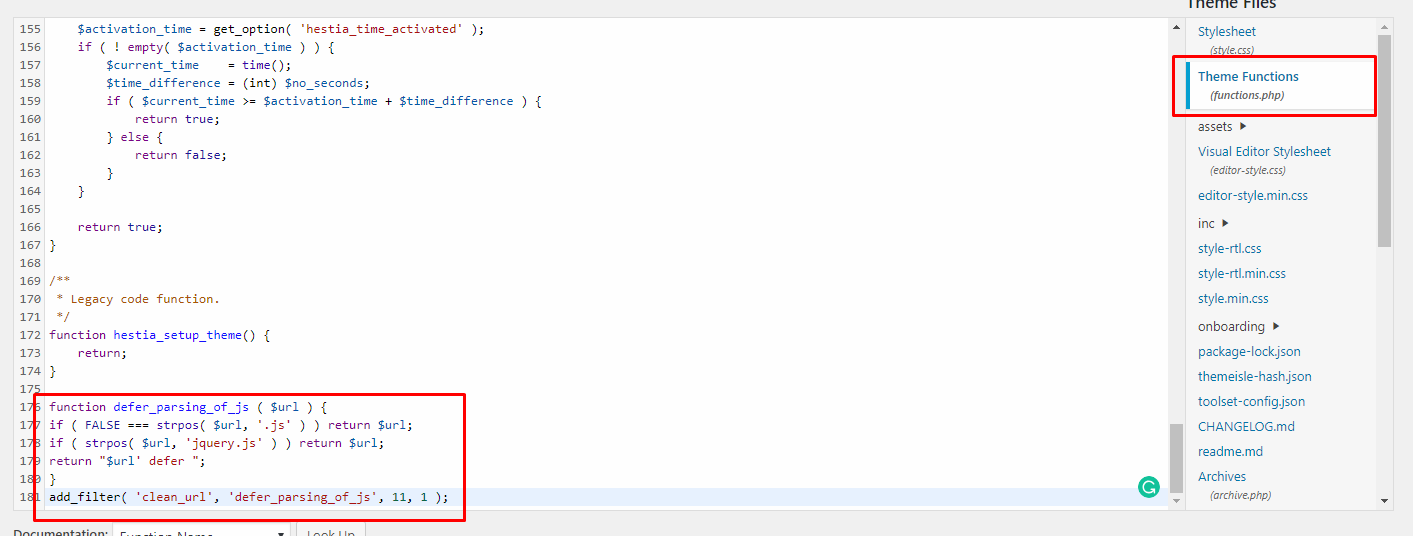 functions.php edit