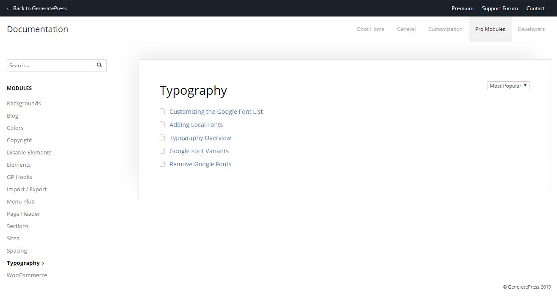 typography dcoumentation