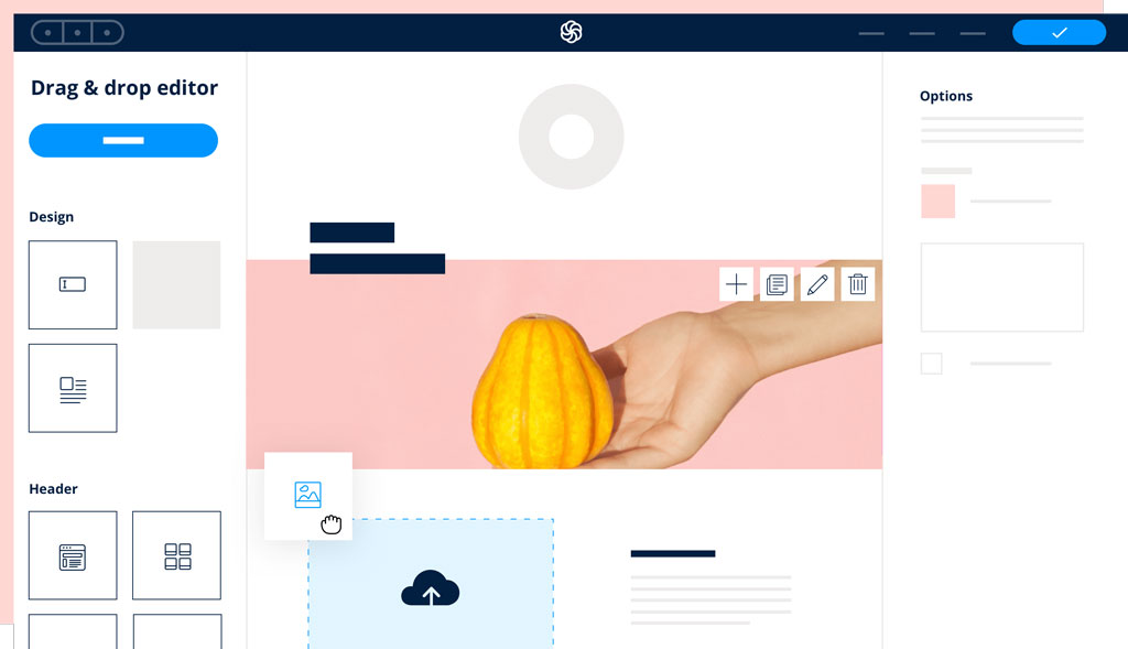 Email Marketing in sendinblue - creating an email using drag and drop builder