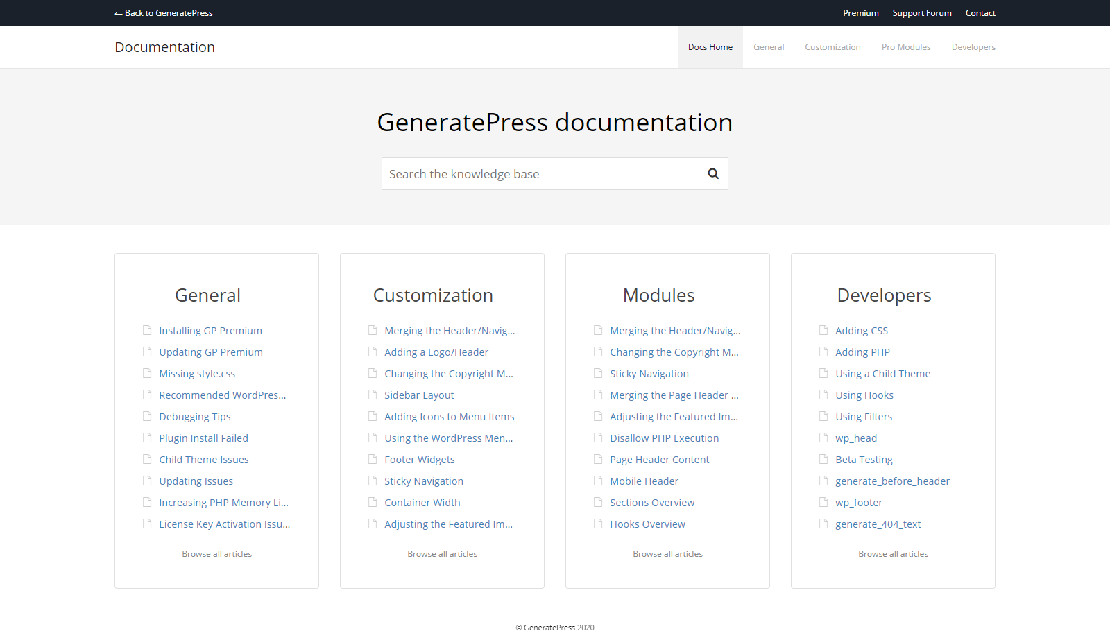 generatepress doc