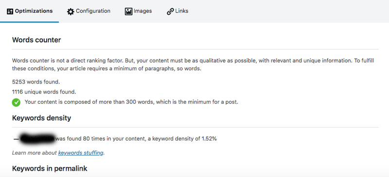 keyword density on page suggestions