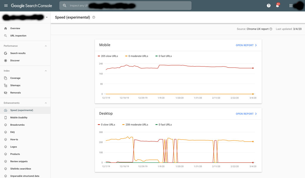 speed report google search console