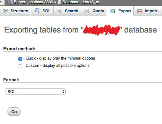 exporting tables from joomla database