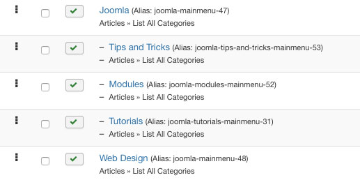 joomla menu structure