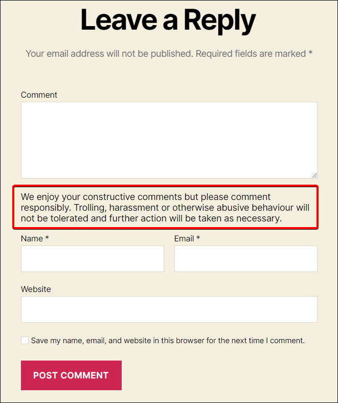 custom comment text guidelines
