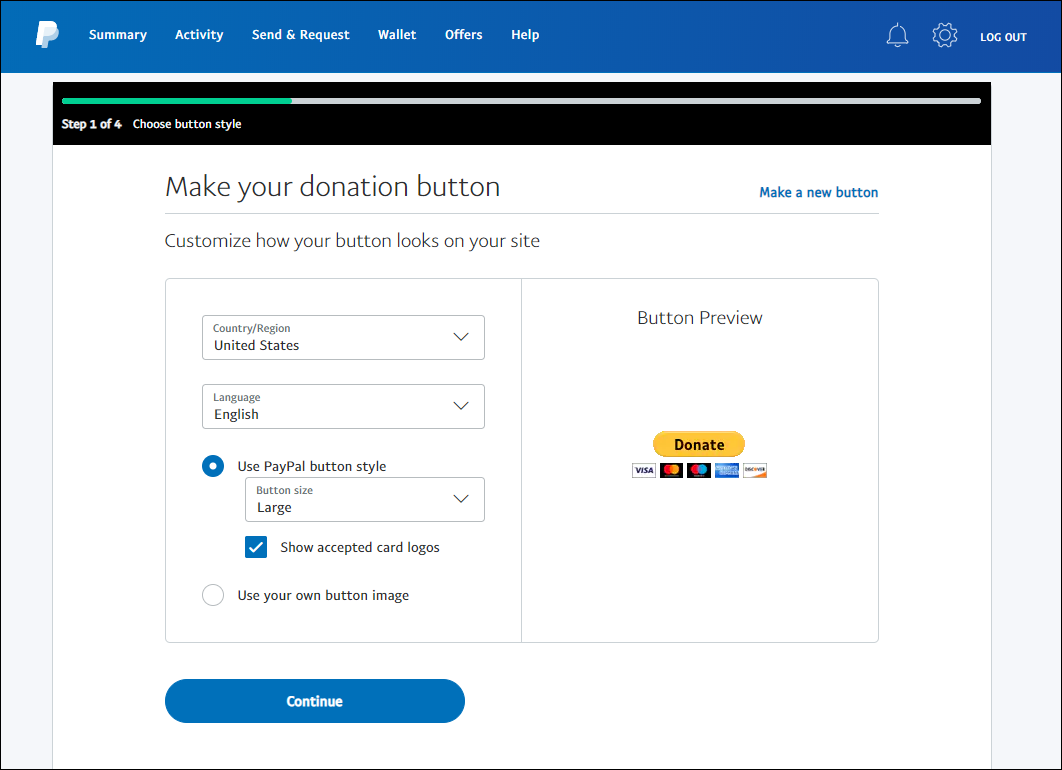 paypal button step 3