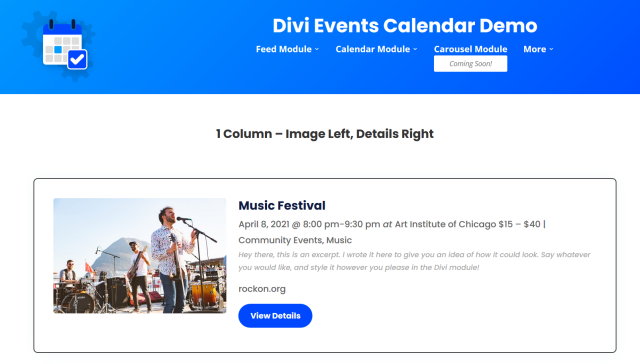 Divi Events Calendar