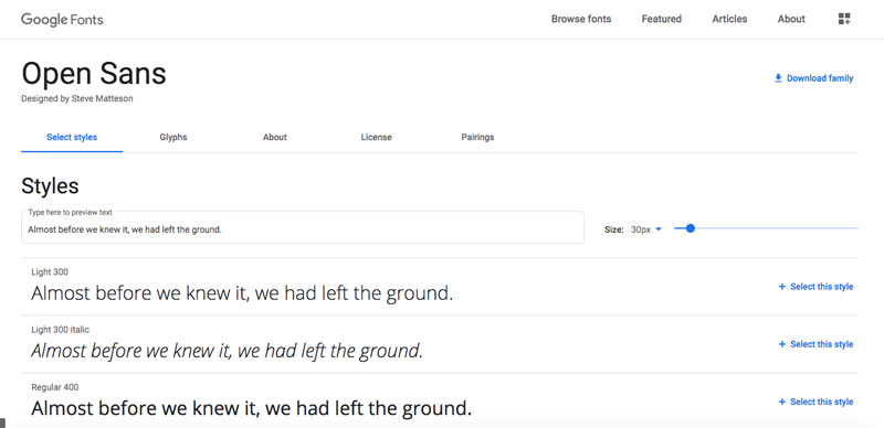 Google Fonts öffnen Sans