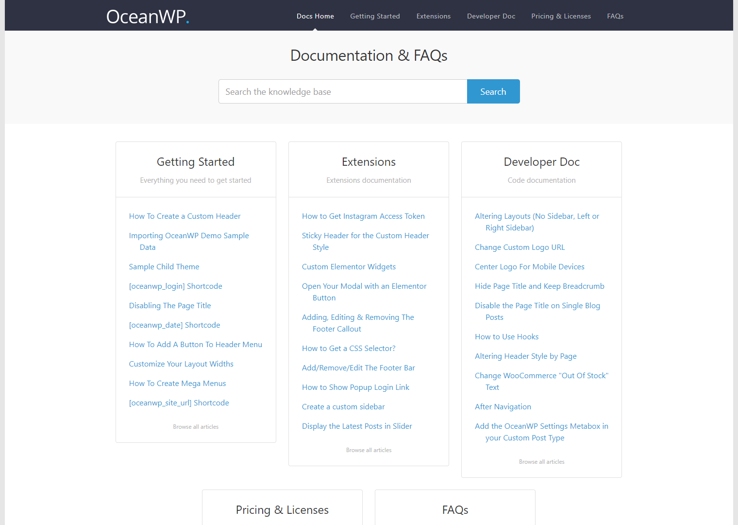 oceanwp docs page
