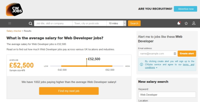 Senior web developer salary