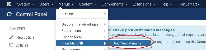 Add store menu item homepage