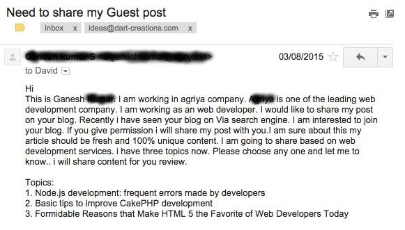 Blogger Outreach email fail on multiple levels