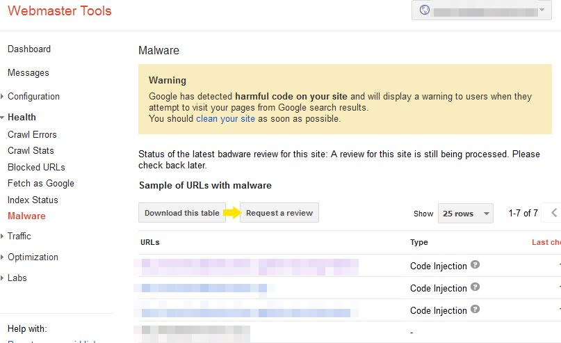 google webmaster tools malware reported
