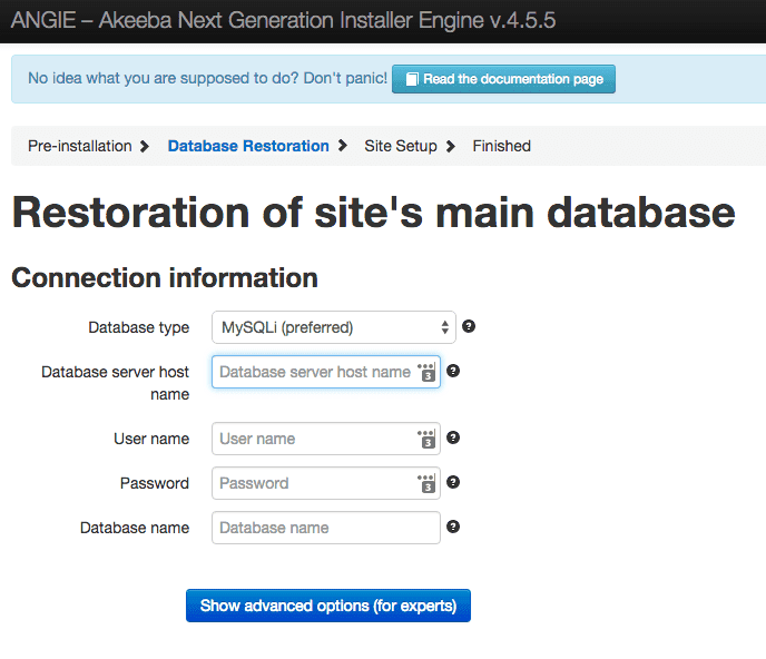 Restore of database to InMotion database