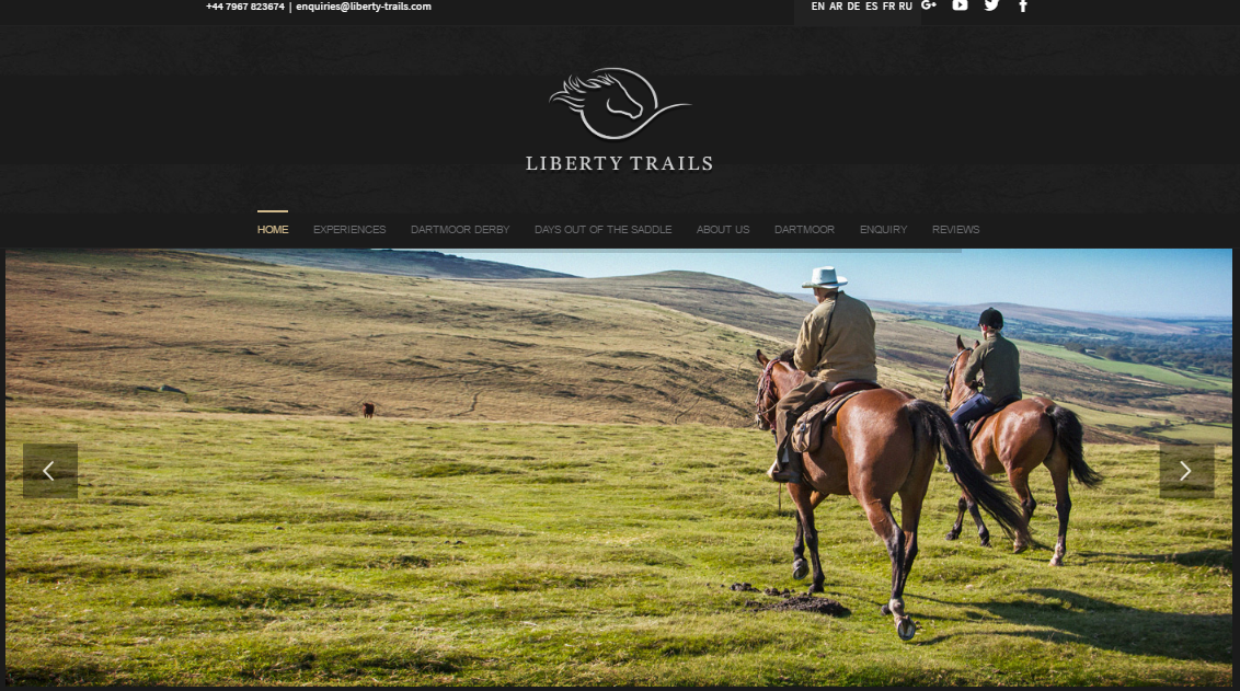Avada theme example - liberty trails website