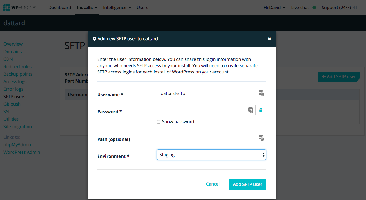 adding sftp users