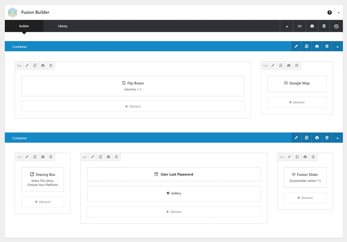 fusion builder example layout